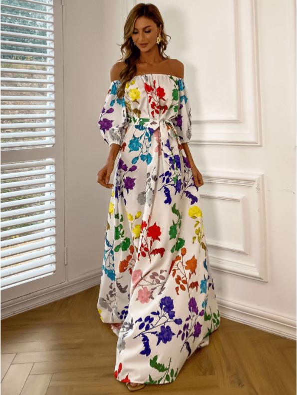 Secret Wish Boutique Sukienka Hiszpanka Biała w Kolorowe Kwiaty z Krótkim Rękawem Maxi (3)