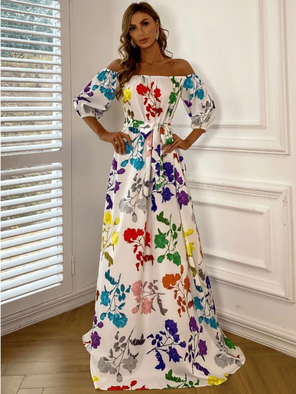 Secret Wish Boutique Sukienka Hiszpanka Biała w Kolorowe Kwiaty z Krótkim Rękawem Maxi (4)