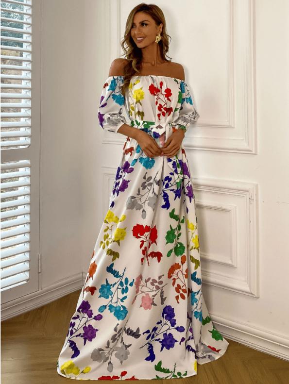 Secret Wish Boutique Sukienka Hiszpanka Biała w Kolorowe Kwiaty z Krótkim Rękawem Maxi (5)