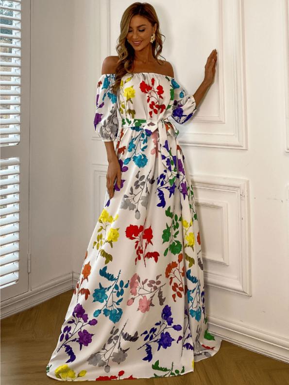 Secret Wish Boutique Sukienka Hiszpanka Biała w Kolorowe Kwiaty z Krótkim Rękawem Maxi