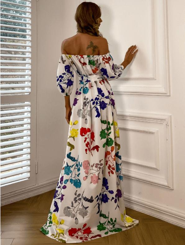 Secret Wish Boutique Sukienka Hiszpanka Biała w Kolorowe Kwiaty z Krótkim Rękawem Maxi (6)