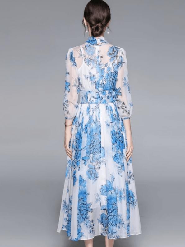 Secret Wish Boutique Sukienka Niebieska w Kwiaty z Długim Rękawem Długa Maxi (1)