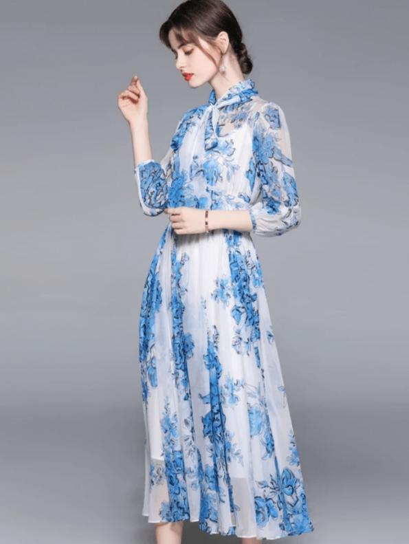 Secret Wish Boutique Sukienka Niebieska w Kwiaty z Długim Rękawem Długa Maxi (2)
