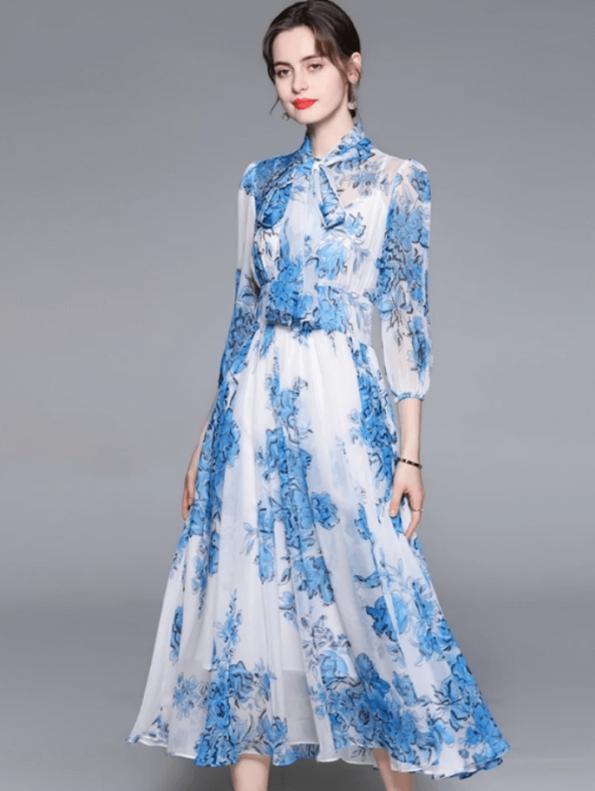 Secret Wish Boutique Sukienka Niebieska w Kwiaty z Długim Rękawem Długa Maxi (3)