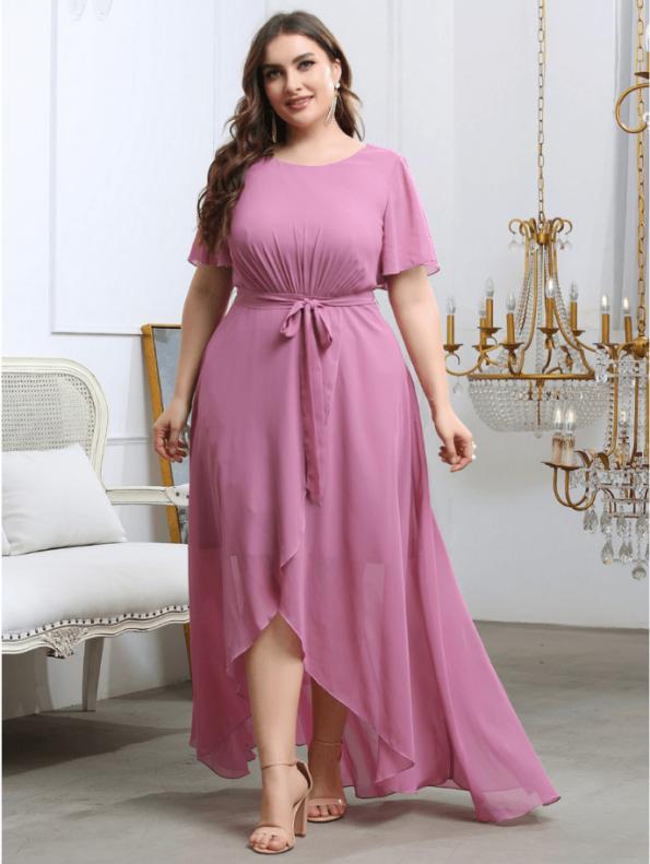 Secret Wish Boutique Sukienka Plus Size Pudrowy Róż z Krótkim Rękawem Długa Maxi (1)