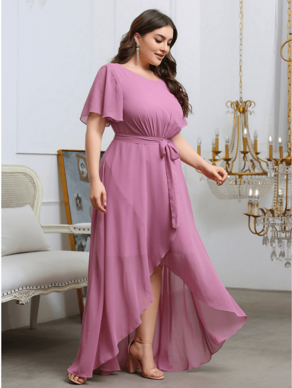Secret Wish Boutique Sukienka Plus Size Pudrowy Róż z Krótkim Rękawem Długa Maxi (2)
