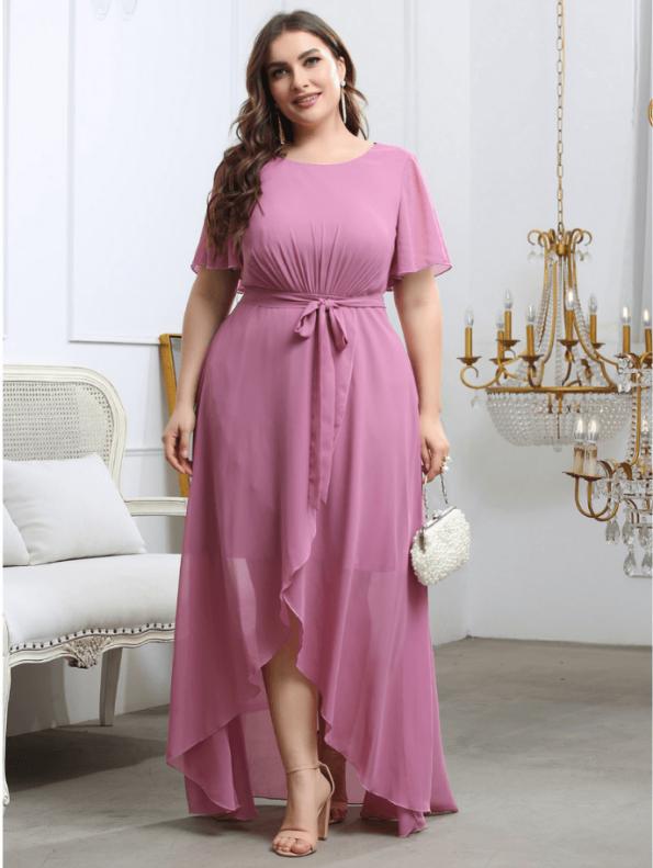 Secret Wish Boutique Sukienka Plus Size Pudrowy Róż z Krótkim Rękawem Długa Maxi (3)