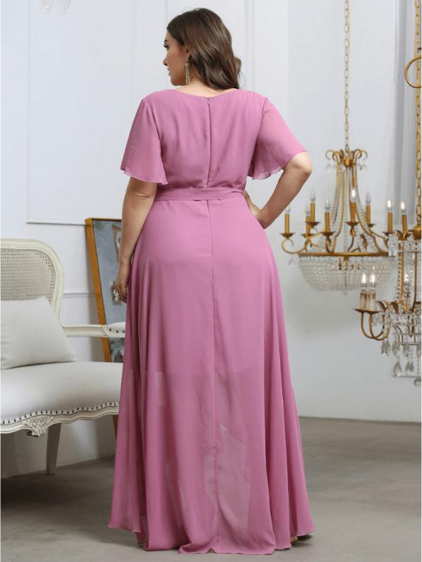 Secret Wish Boutique Sukienka Plus Size Pudrowy Róż z Krótkim Rękawem Długa Maxi (4)