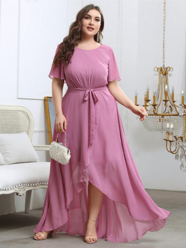 Secret Wish Boutique Sukienka Plus Size Pudrowy Róż z Krótkim Rękawem Długa Maxi (5)