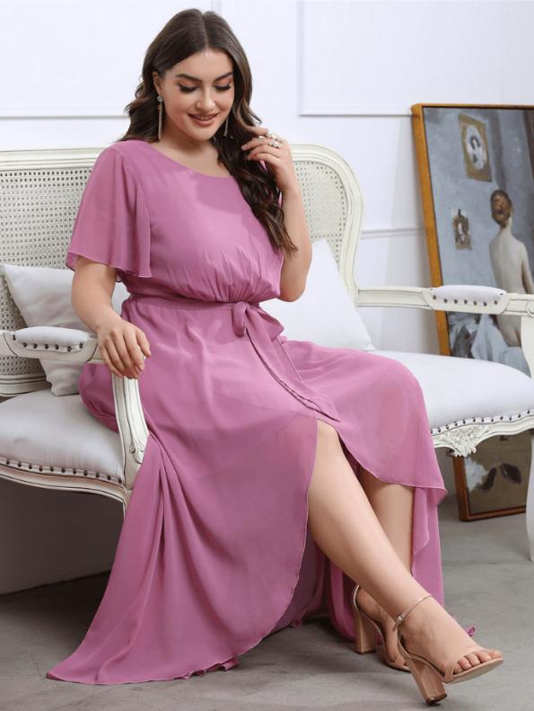Secret Wish Boutique Sukienka Plus Size Pudrowy Róż z Krótkim Rękawem Długa Maxi