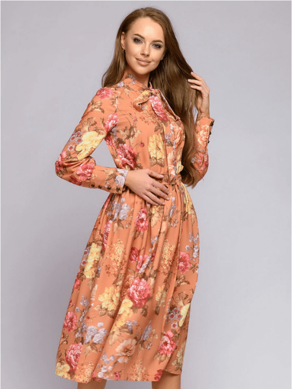 Secret Wish Boutique Sukienka Pomarańczowa w Kwiaty z Długim Rękawem za Kolano (1)