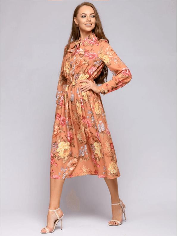 Secret Wish Boutique Sukienka Pomarańczowa w Kwiaty z Długim Rękawem za Kolano (2)