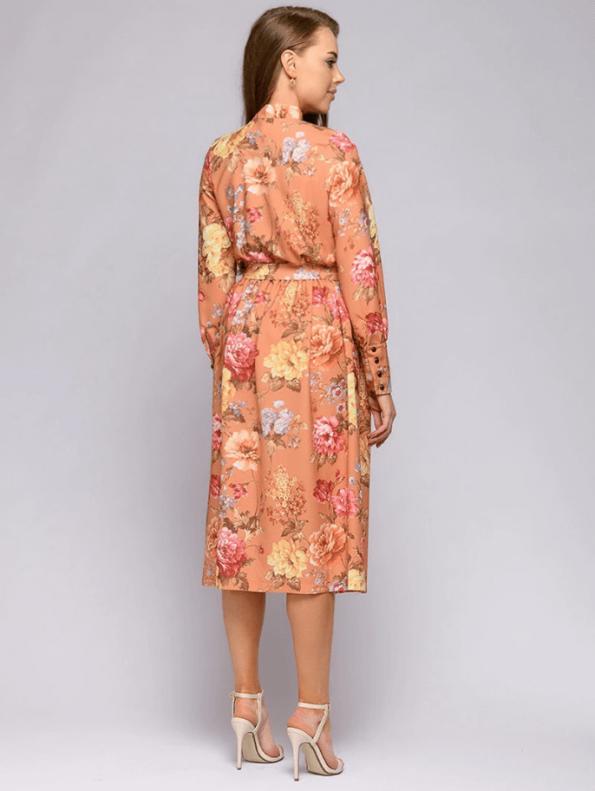 Secret Wish Boutique Sukienka Pomarańczowa w Kwiaty z Długim Rękawem za Kolano