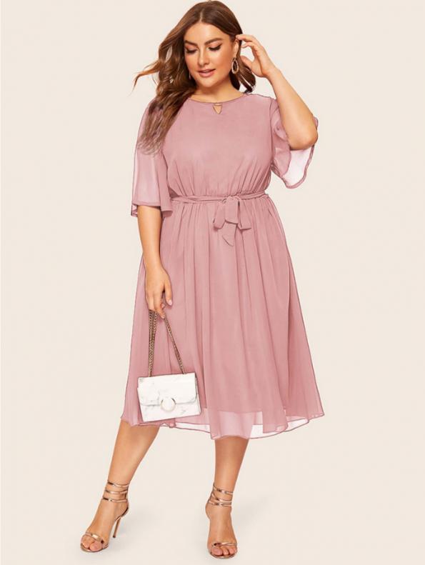 Secret Wish Boutique Sukienka Pudrowy Róż z Krótkim Rękawem Plus Size Midi (4)