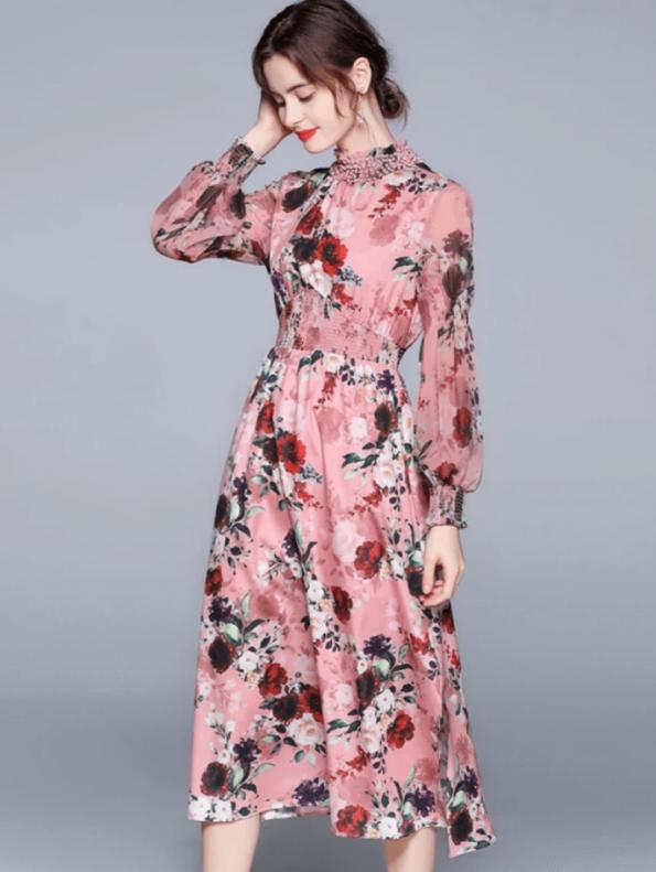 Secret Wish Boutique Sukienka Różowa w Kwiat z Długim Rękawem za Kolano Midi (1)