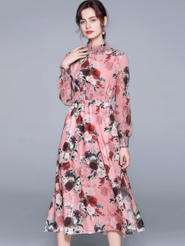 Secret Wish Boutique Sukienka Różowa w Kwiat z Długim Rękawem za Kolano Midi (2)