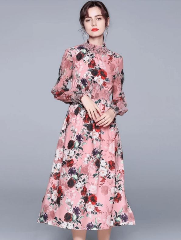 Secret Wish Boutique Sukienka Różowa w Kwiat z Długim Rękawem za Kolano Midi (3)