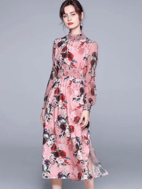 Secret Wish Boutique Sukienka Różowa w Kwiat z Długim Rękawem za Kolano Midi (4)