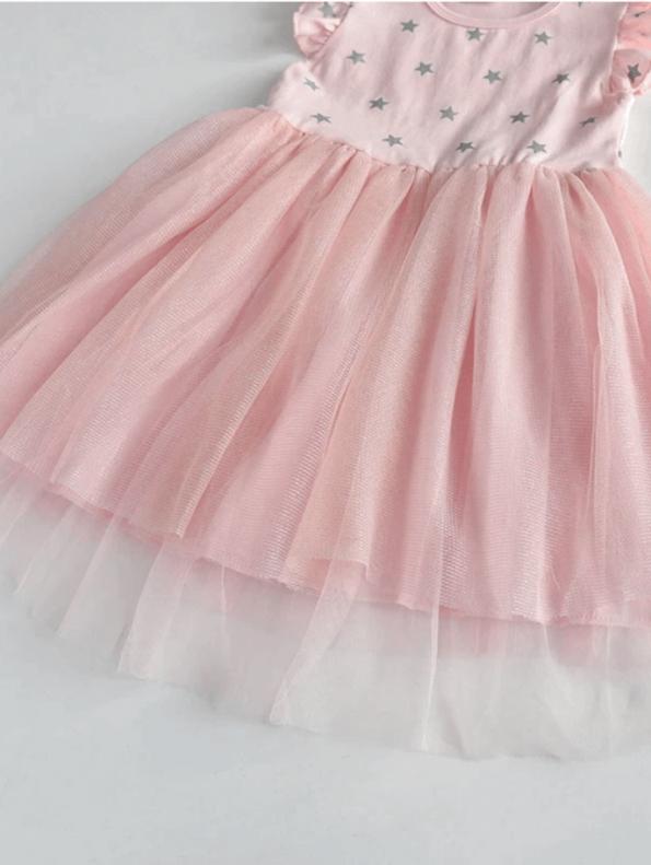 Secret Wish Boutique Sukienka Tiulowa Pudrowy Róż dla Dziewczynki z Krótkim Rękawem za Kolano
