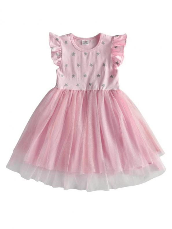 Secret Wish Boutique Sukienka Tiulowa Pudrowy Róż dla Dziewczynki z Krótkim Rękawem za Kolano (1)