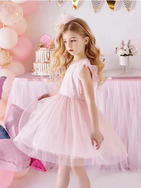 Secret Wish Boutique Sukienka Tiulowa Pudrowy Róż dla Dziewczynki z Krótkim Rękawem za Kolano (2)