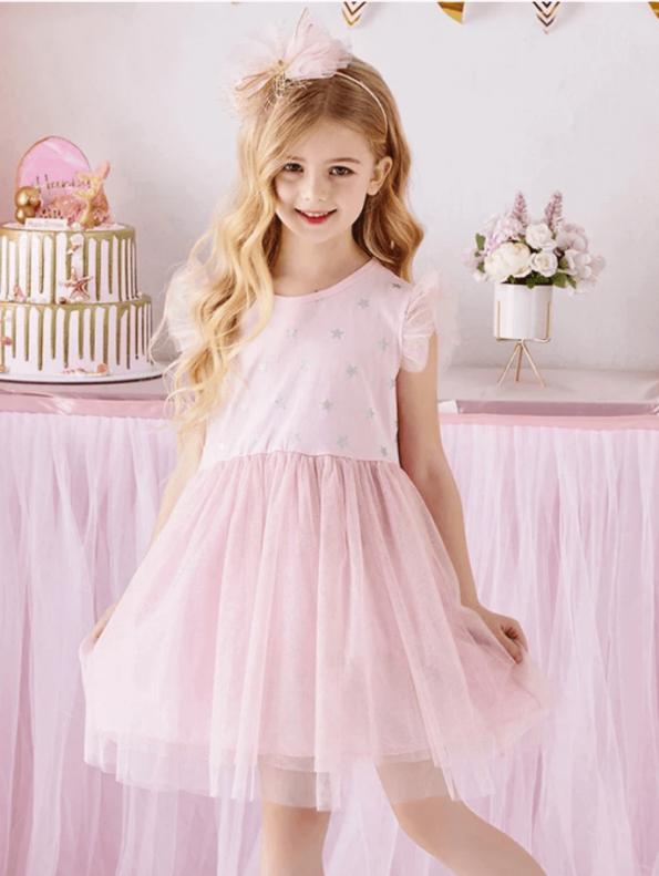 Secret Wish Boutique Sukienka Tiulowa Pudrowy Róż dla Dziewczynki z Krótkim Rękawem za Kolano (3)