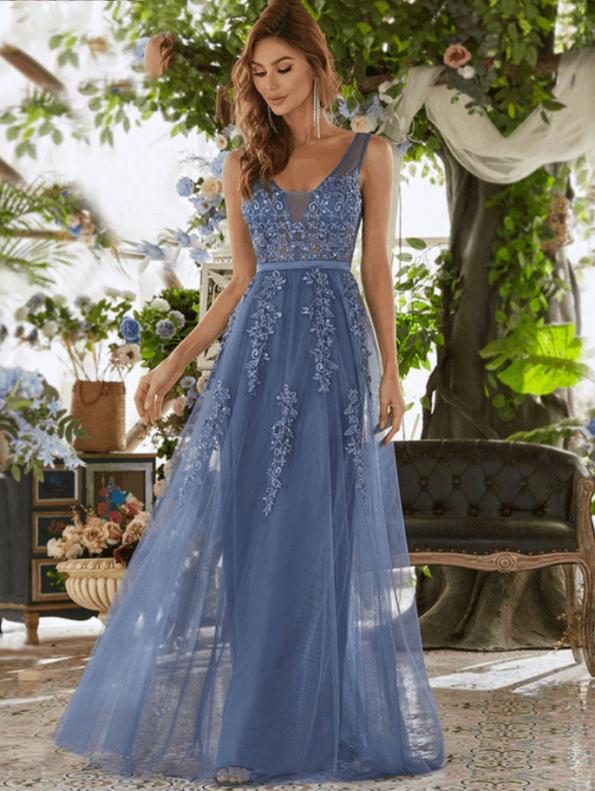 Secret Wish Boutique Sukienka Wizytowa Grafitowa Tiulowa Haftowana na Ramiączkach Długa Maxi (1)