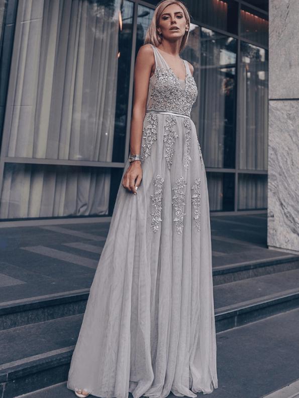 Secret Wish Boutique Sukienka Wizytowa Szara Tiulowa Haftowana na Ramiączkach Długa Maxi (1)