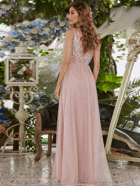 Secret Wish Boutique Sukienka Wizytowa Tiulowa Haftowana na Ramiączkach Długa Maxi (1)