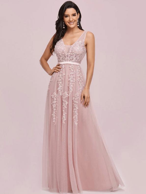 Secret Wish Boutique Sukienka Wizytowa Tiulowa Haftowana na Ramiączkach Długa Maxi (3)