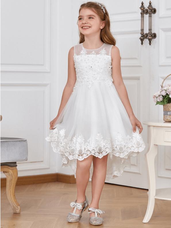 Secret Wish Boutique Sukienka dla Dziewczynki Biała Koronkowa Midi (1)