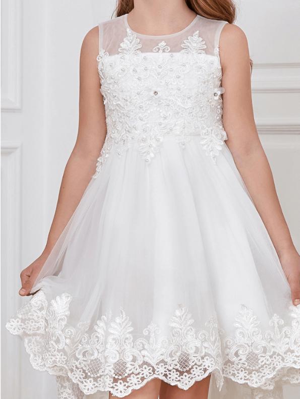 Secret Wish Boutique Sukienka dla Dziewczynki Biała Koronkowa Midi (2)