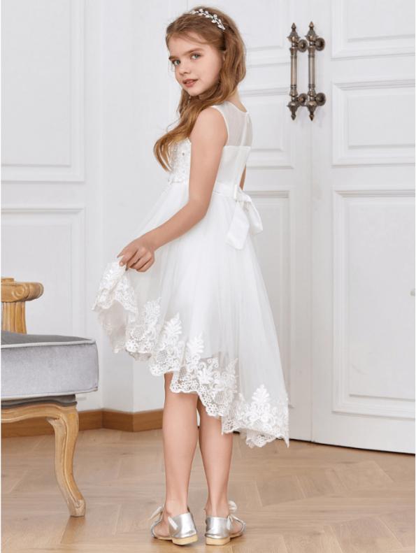 Secret Wish Boutique Sukienka dla Dziewczynki Biała Koronkowa Midi (3)