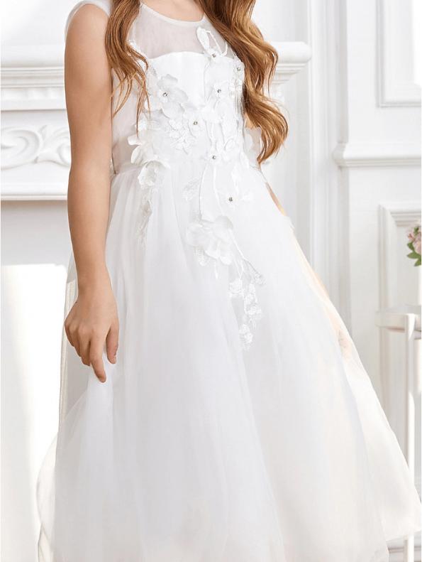 Secret Wish Boutique Sukienka dla Dziewczynki Biała Koronkowa Midi (5)