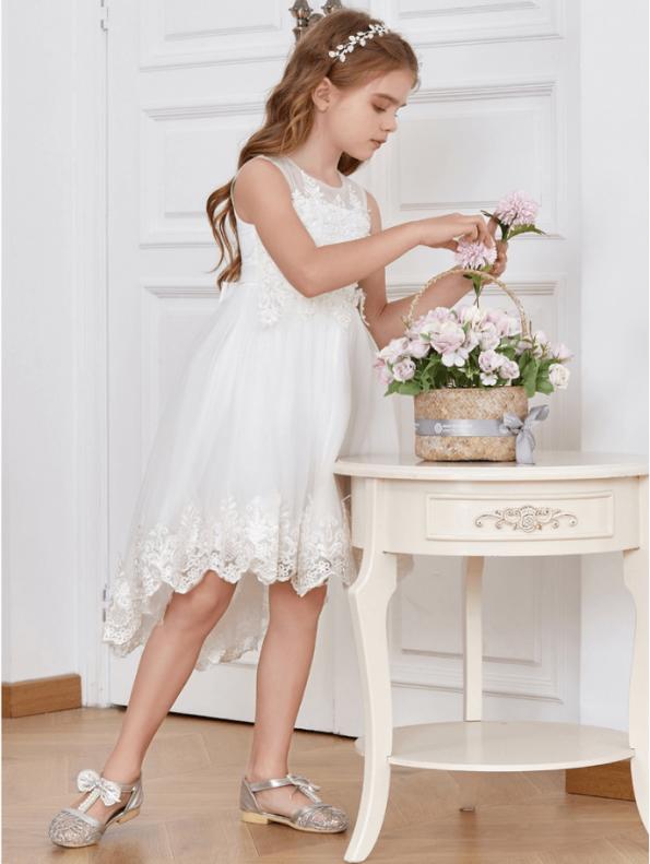 Secret Wish Boutique Sukienka dla Dziewczynki Biała Koronkowa Midi