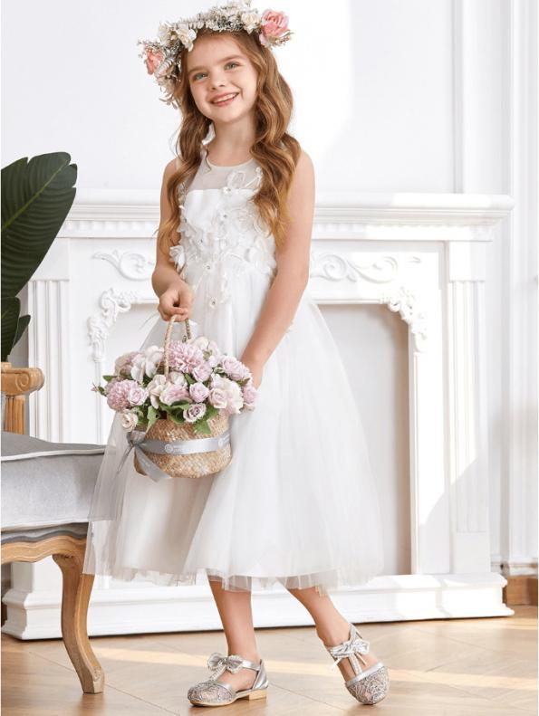 Secret Wish Boutique Sukienka dla Dziewczynki Biała Koronkowa Midi (6)