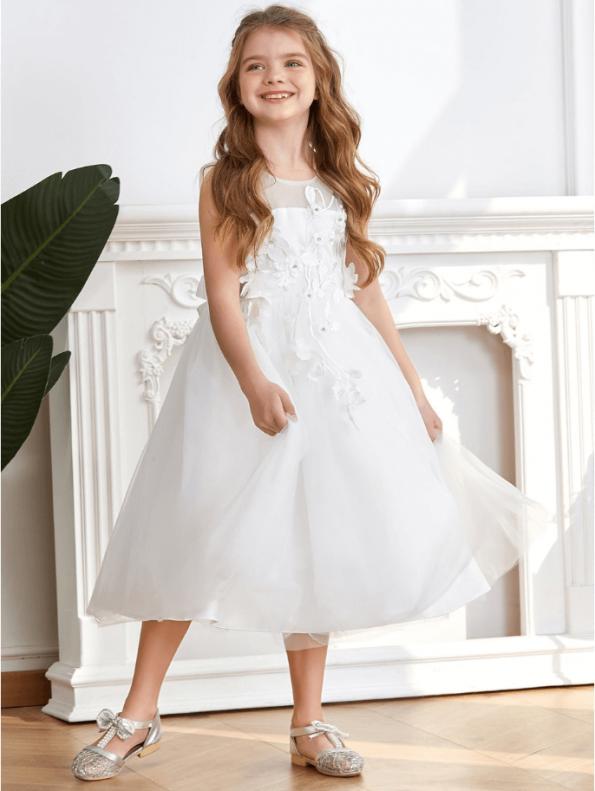 Secret Wish Boutique Sukienka dla Dziewczynki Biała Koronkowa Midi (7)