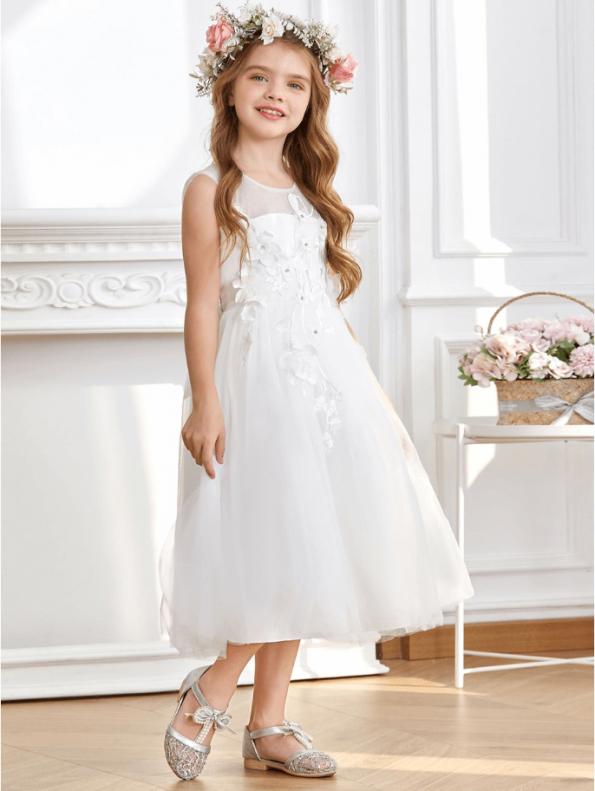 Secret Wish Boutique Sukienka dla Dziewczynki Biała Koronkowa Midi (8)