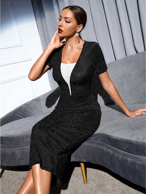 Secret Wish Boutique Sukienka Koktajlowa Czarna z Długim Rękawem MIdi (1)