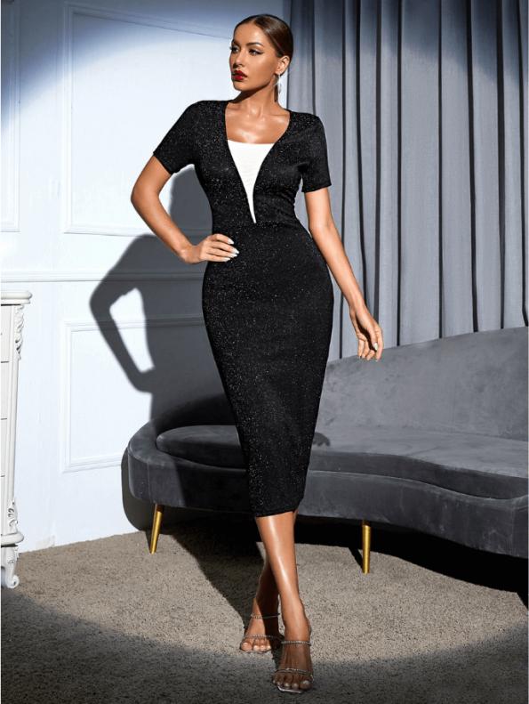 Secret Wish Boutique Sukienka Koktajlowa Czarna z Długim Rękawem MIdi (2)