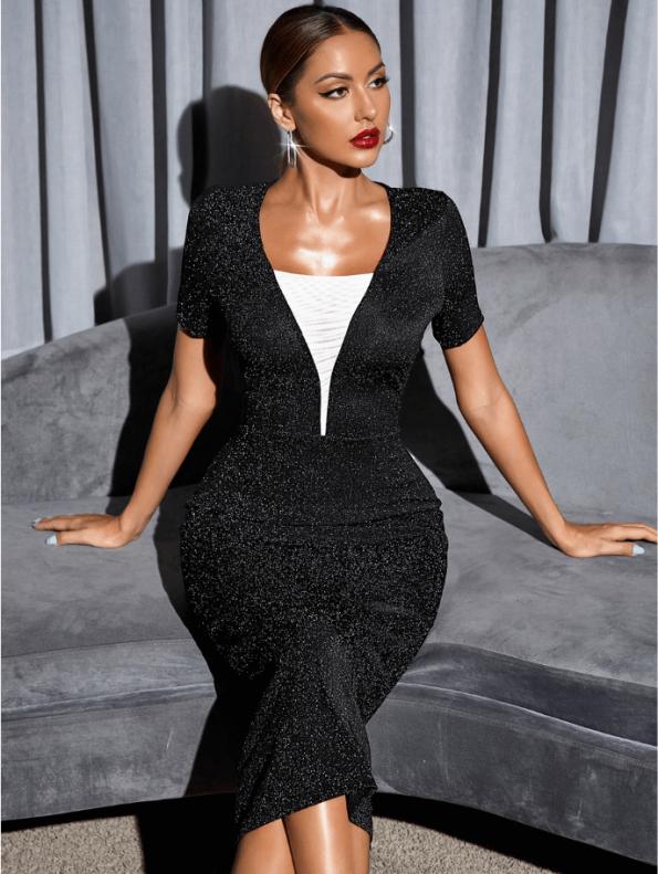 Secret Wish Boutique Sukienka Koktajlowa Czarna z Długim Rękawem MIdi (3)