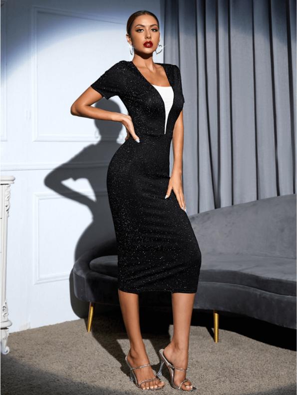 Secret Wish Boutique Sukienka Koktajlowa Czarna z Długim Rękawem MIdi