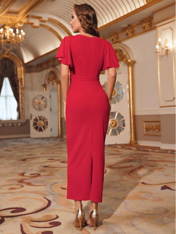 Secret Wish Boutique Sukienka Koktajlowa Czerwona z Krótkim Rękawem z Haftem Midi (1)