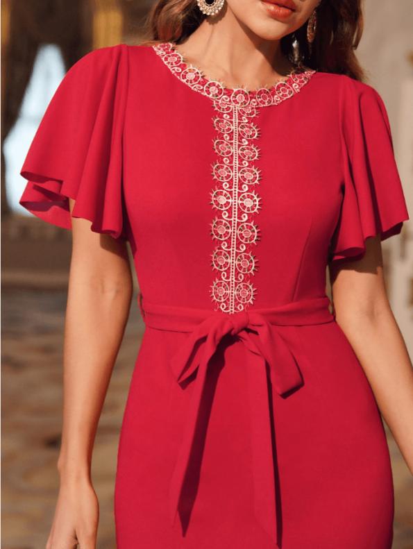 Secret Wish Boutique Sukienka Koktajlowa Czerwona z Krótkim Rękawem z Haftem Midi (3)