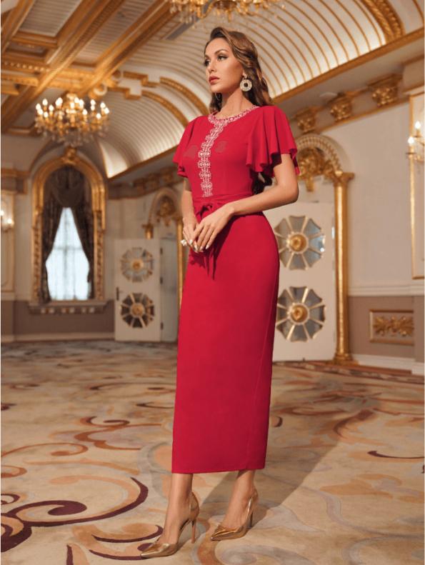 Secret Wish Boutique Sukienka Koktajlowa Czerwona z Krótkim Rękawem z Haftem Midi