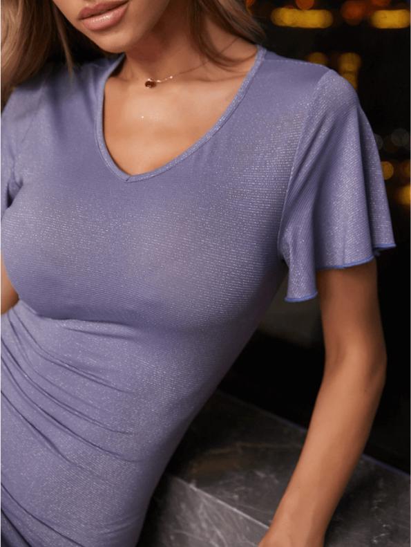 Secret Wish Boutique Sukienka Koktajlowa Fioletowa z Krótkim Rękawem Falbanka Midi (1)