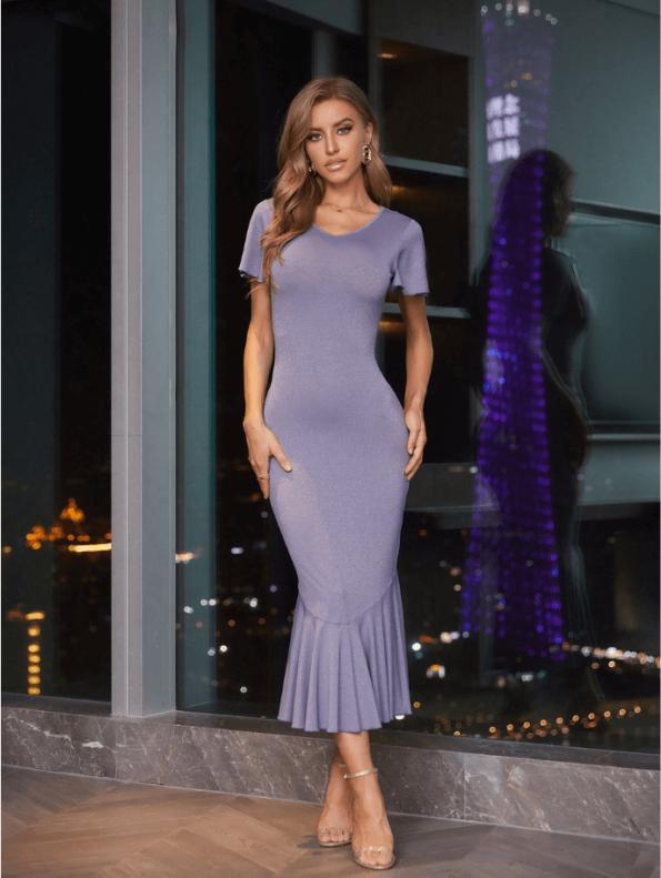 Secret Wish Boutique Sukienka Koktajlowa Fioletowa z Krótkim Rękawem Falbanka Midi (2)