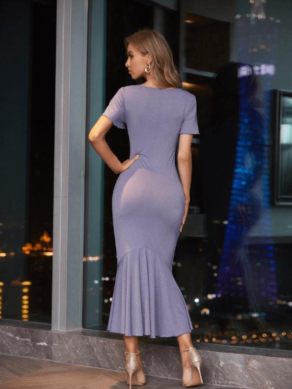Secret Wish Boutique Sukienka Koktajlowa Fioletowa z Krótkim Rękawem Falbanka Midi