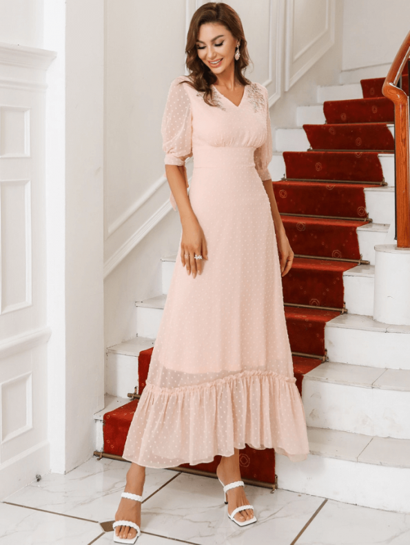 Secret Wish Boutique Sukienka Koronkowa z Haftem Pudrowy Róż Falbanka z Krótkim Rękawem Midi (2)
