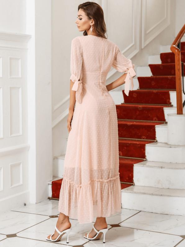 Secret Wish Boutique Sukienka Koronkowa z Haftem Pudrowy Róż Falbanka z Krótkim Rękawem Midi (3)